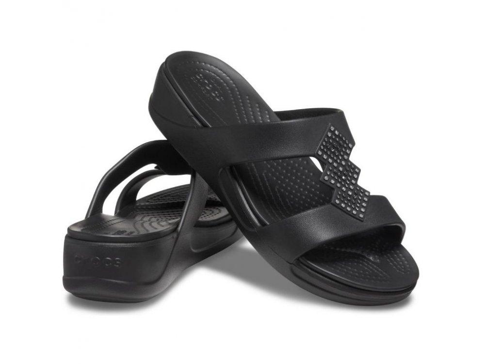 Σαγιονάρες Crocs Monterey Shimmer SlpOnWdg W Black