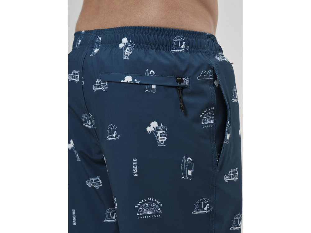 Basehit Men's Printed Packable Volley Shorts PR238 Navy