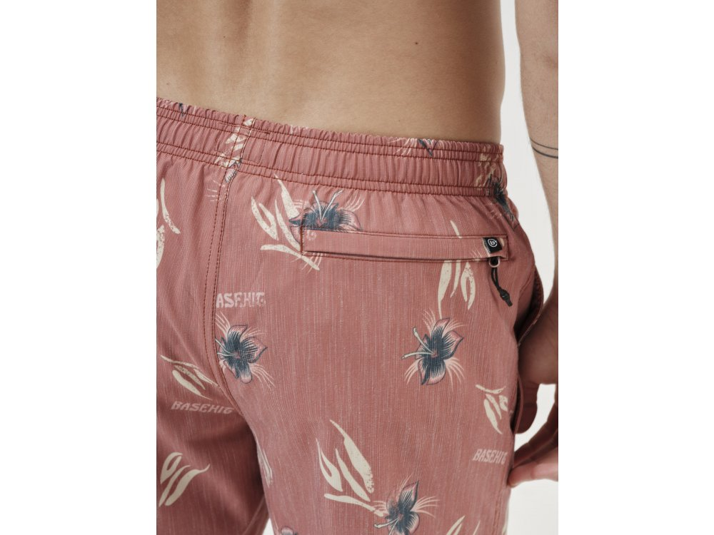 Basehit Men's Printed Volley Shorts PR237 Cranberry