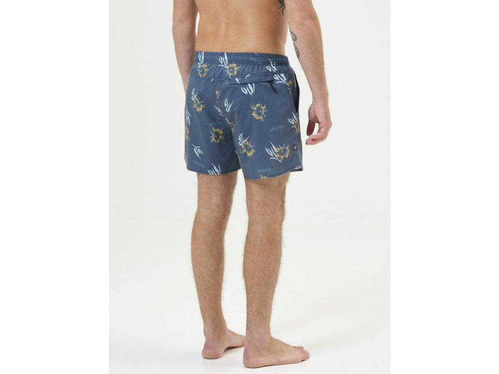 Basehit Men's Printed Packable Volley Shorts PR237 Navy